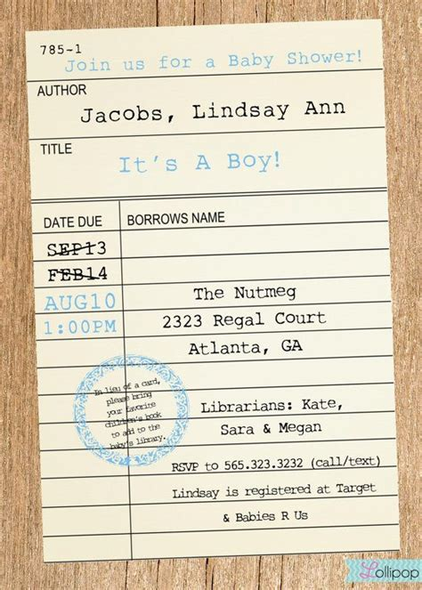 Library Card Baby Shower Invitation Template by Printable Library Card Baby Shower Invitation These Would