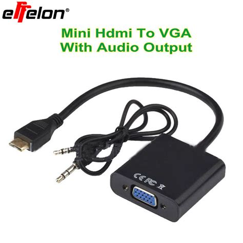 Hdmi In To Vga Out With Audio Monitor Cable Howeii effelon mini hdmi to vga adapter mini hdmi to vga with audio output cable converter