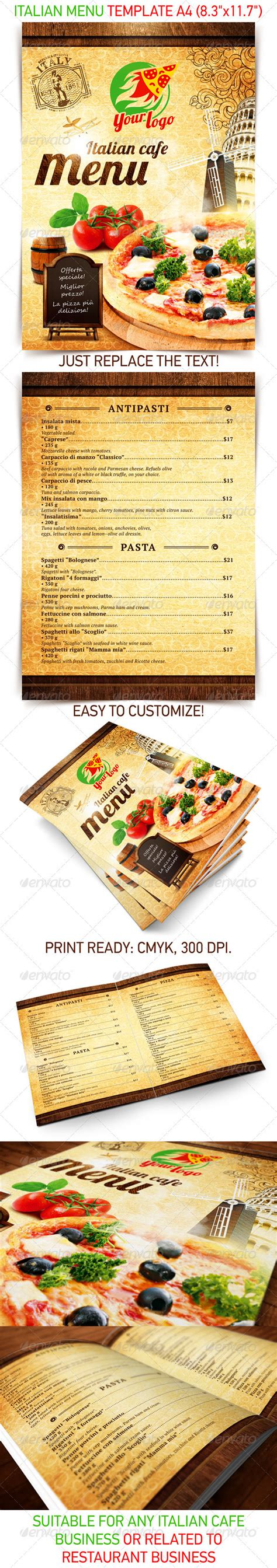 italian menu template psd template on behance
