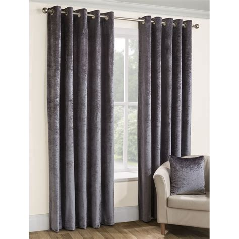 velvet eyelet curtains belfield furnishings opulence silver crushed velvet eyelet