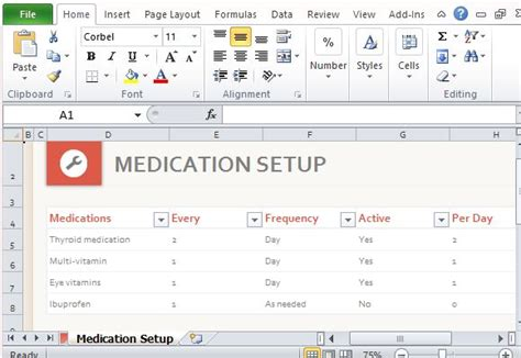 more themes microsoft office online medication schedule organizer for excel