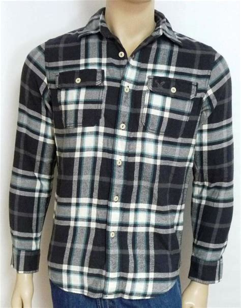 Plaid Shirt By American Eagle american eagle outfitters aeo flannel charcoal gray plaid