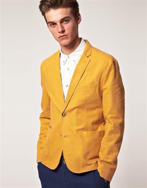 mustard color blazer lyst asos asos slim fit blazer in mustard in yellow for