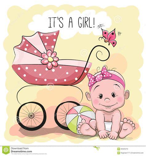 it s a card template 逗人喜爱的动画片女婴 向量例证 插画 包括有 例证 幸福 线路 背包 支架 系列 关心 问候