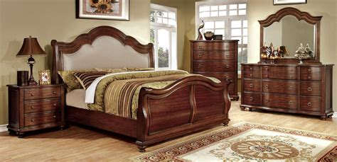 sleigh bedroom furniture sets 4 piece bellavista brown cherry sleigh bedroom set