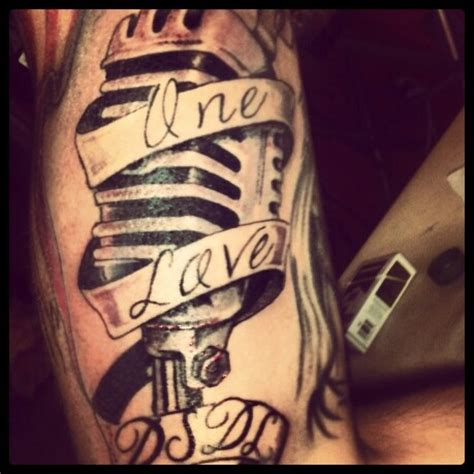 rap tattoos onelove rap ink mic microphone