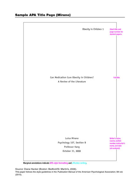 exle of a apa format title page the introductory