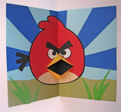 How To Make A Bird Beak Out Of Paper - angry birds pop up card template links added paper