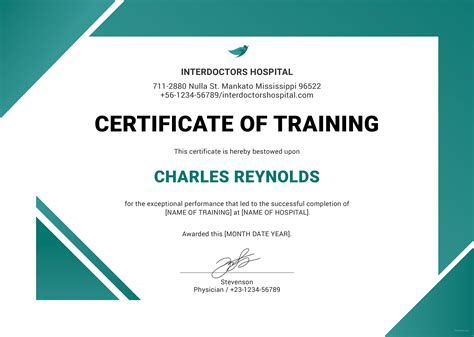 certificate of training template free change of address