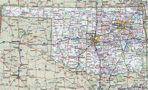 ou map large detailed roads and highways map of oklahoma state with all cities oklahoma state usa