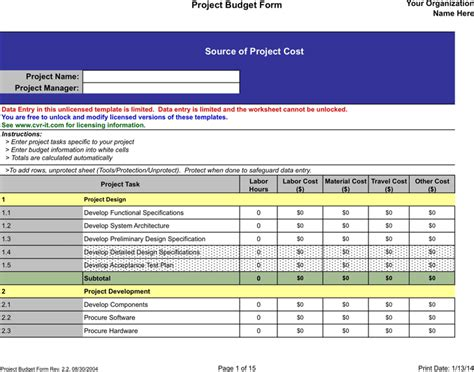 download construction budget sample for free tidyform