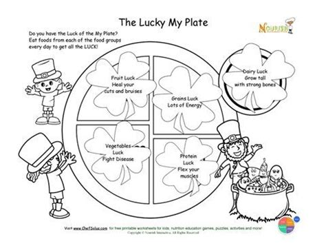 coloring page for my plate st patrick s day kids my plate nutrition worksheet free