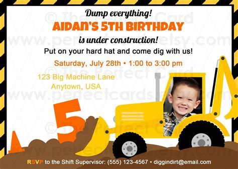 construction themed birthday card template construction birthday invitation