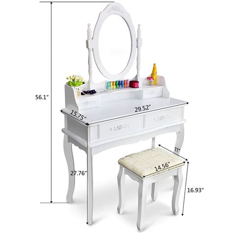 makeup dressing table with drawers white vanity makeup dressing table set w stool 4 drawer