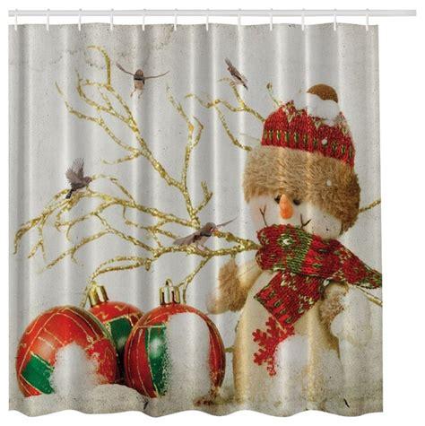 christmas curtain fabric winter holiday snowman christmas fabric shower curtain
