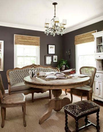 gray french settee transitional dining room country
