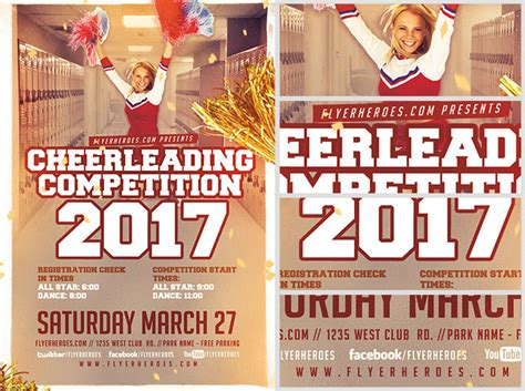 Cheerleading Competition 2017 Flyer Template V2 Flyerheroes Cheerleading Flyer Template