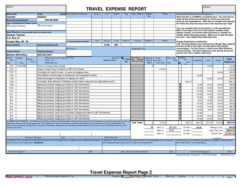 inspirational expense report spreadsheet template