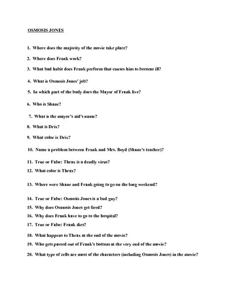 The Biology Of Osmosis Jones Worksheet Answers by Quiz Osmosis Jones Worksheet Lesson Planet