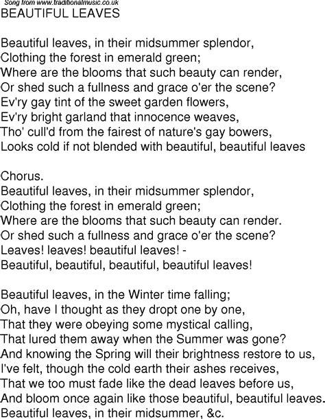 time song lyrics   beautiful leaves