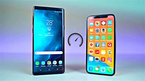samsung galaxy note 9 vs iphone x ios 12 speed test