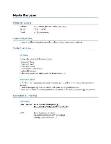 Resume For Highschool Graduate by 13 Student Resume Exles High School And College