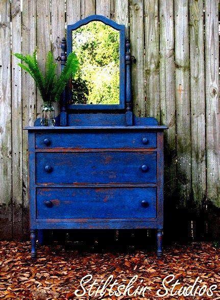 shabby rustic cobalt blue cottage dresser