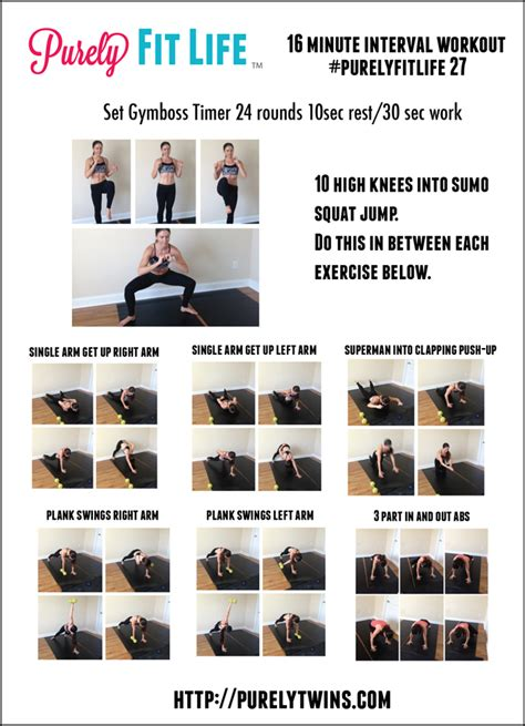 16 minute interval cardio workout purelyfitlife