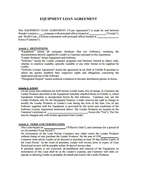 Loan Agreement Form Exle 65 Free Documents In Word Pdf Equipment Loan Agreement Template Uk