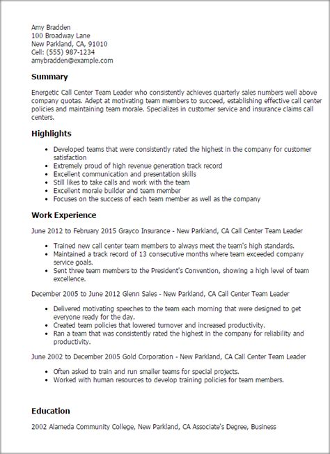 Leader Resume Exles by Sle Resume For A Call Center 28 Images Call Center