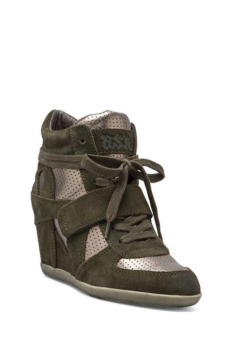 ash wedge sneaker lyst ash bowie wedge sneaker in green