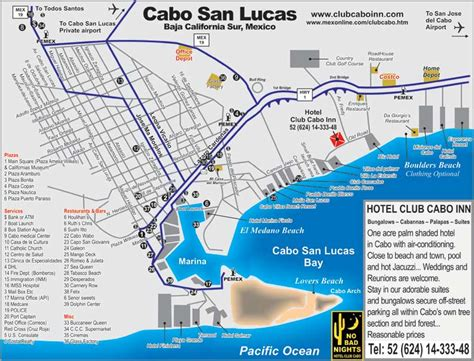 map of cabo san lucas map cabo bed and breakfast