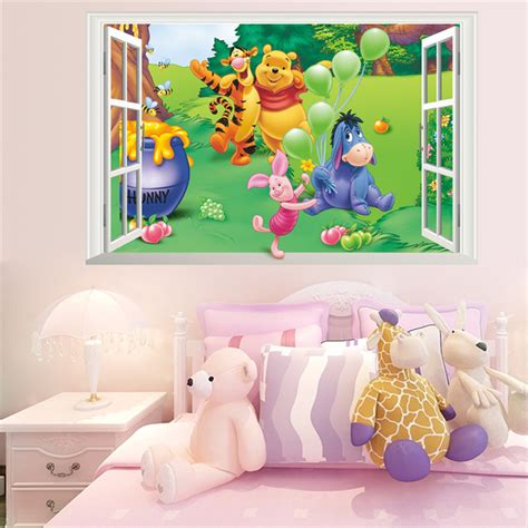 kk home decor cartoon winnie pooh wall stickers for kids children room