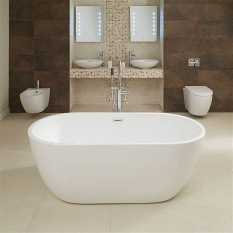 free standing soaking bathtubs aluna 1600 x 800mm double ended freestanding bath tub