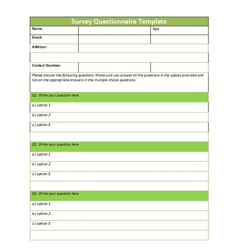 questionnaire design template 30 questionnaire templates word template lab