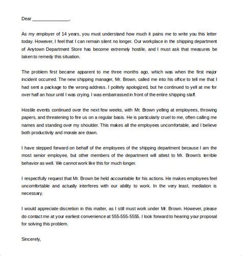 hostile work environment letter complaint sles cover
