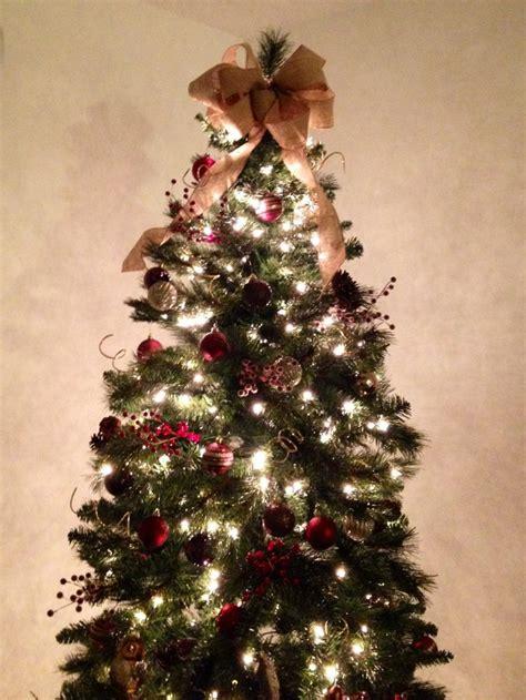 christmas tree burlap bow topper holiday stuff pinterest