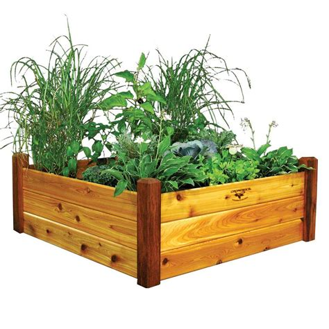 home depot garden bed gronomics 48 in x 48 in x 19 in safe finish raised