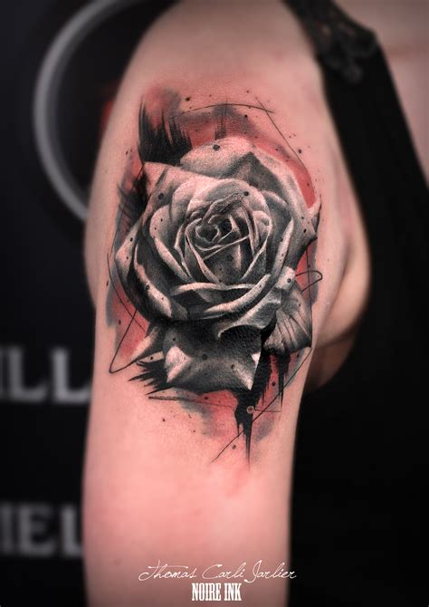 tattoo rose watercolor ink