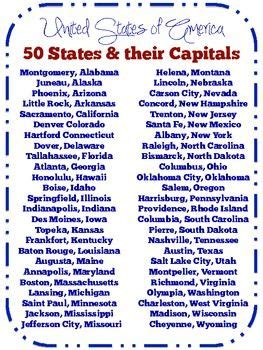 list of the 50 states 11 best images about us state capitals on pinterest