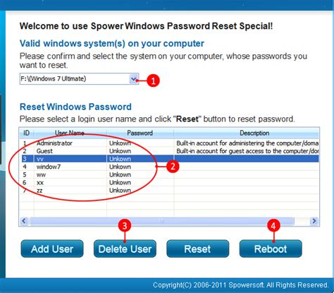 windows password reset guide spower windows password reset guide add or delete