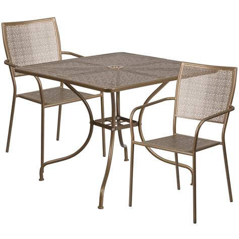 35 5 square gold indoor outdoor steel patio table set