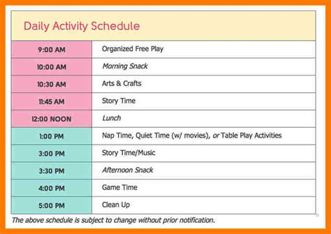home daycare schedule template 27 images of home daycare schedule template infovia net