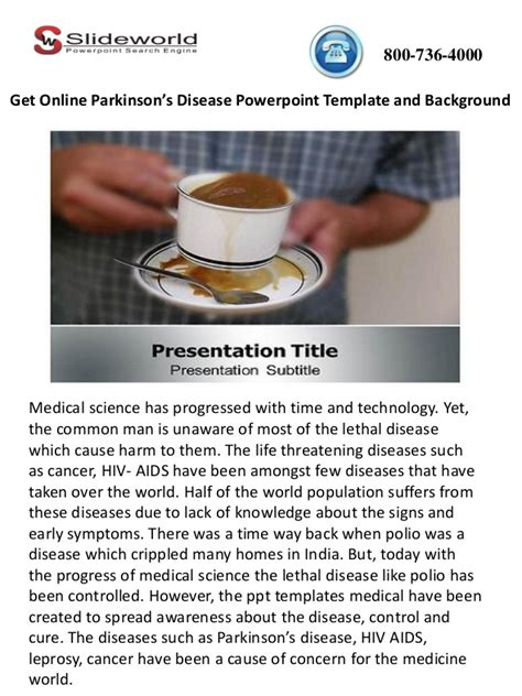 Et Online Parkinson S Disease Powerpoint Template And Background Disease Powerpoint Template