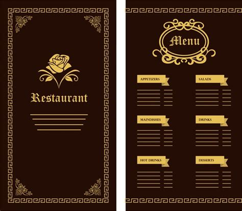 restaurant menu card templates restaurant menu template flower classical design on