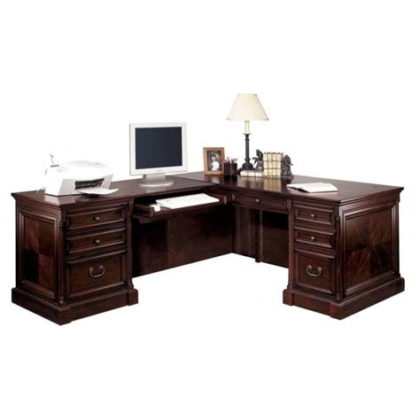 Cherry L Shaped Desk by Kathy Ireland Home By Martin Mount View Executive Lhf L Shaped Desk In Cherry Cobblestone