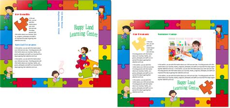 daycare brochure template child care brochure template 14 child care owner