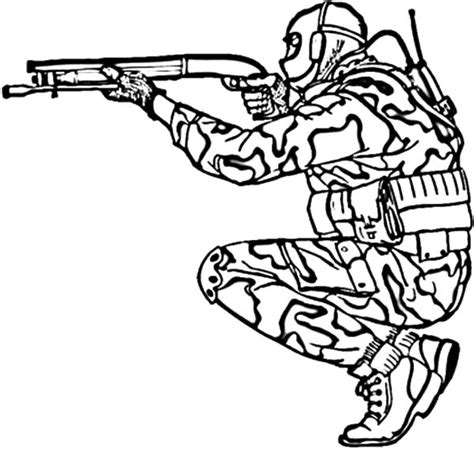 Army Cool Coloring Pages   military army shooting shotgun coloring pages bulk color