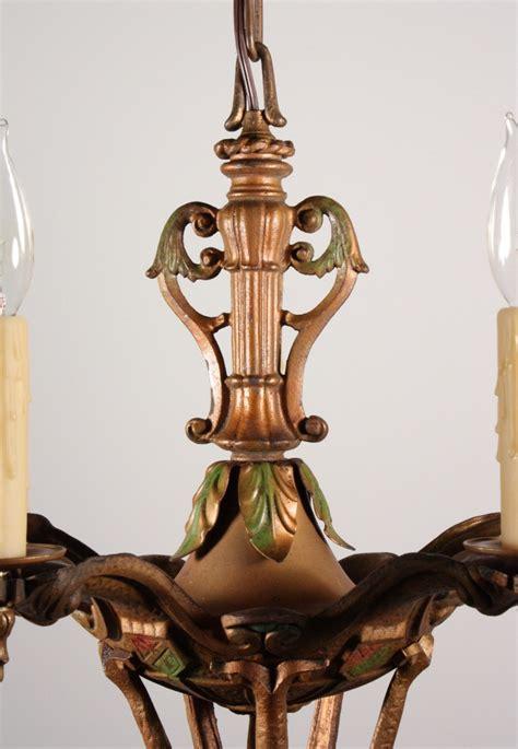 Antique Cast Iron Chandelier Charming Antique Five Light Cast Iron Polychrome Chandelier Nc823 For Sale Antiques