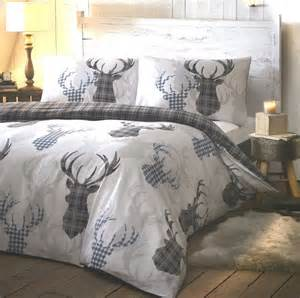 Rustic Comforter Set Tartan Stag Grey Bedding Duvet Sets